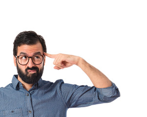 Young hipster man making crazy gesture