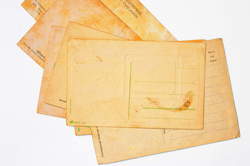 Vintage postcards on the white background