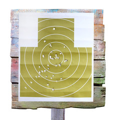 Military shooting target with bullet holes on white background.