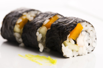 Sushi with pumpkin and teryjaki chicken