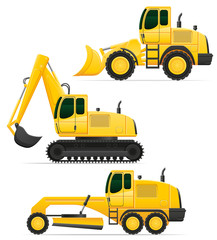 car equipment for road works vector illustration