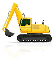 excavator for road works vector illustration