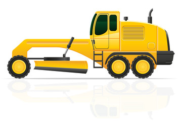grader for road works vector illustration