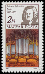 Stamp printed in Hungary shows Johann Sebastian Bach