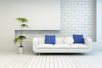 Fresh Green Plant Near White Couch at Living Room