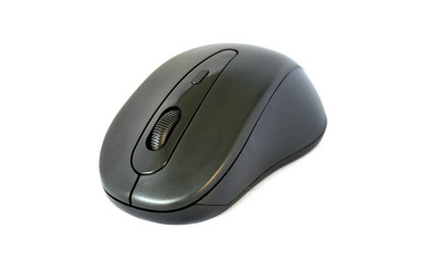 computer mouse isolated on white grey horizontal side view