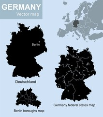 Maps of Germany, federal states and Berlin with boroughs