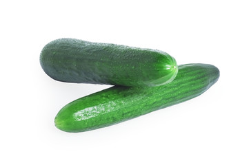 Two large green cucumber