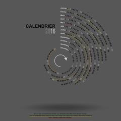 calendrier 2016 cercle  gris