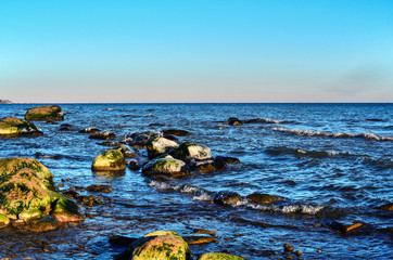 The coast of a rocky beach