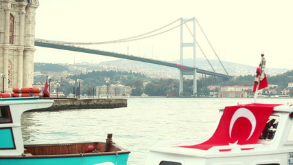 Little Boats with Turkish Flag in Istanbul
