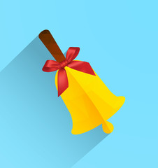 Polygonal bell with ribbon bow