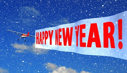 """airplane with banner """"happy new year"""""""