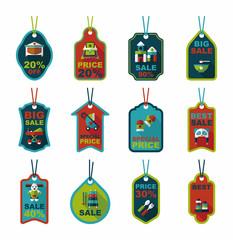 baby tag banner design flat background set, eps10