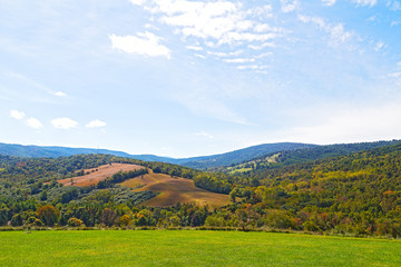 Green meadows and hills of countryside in Virginia.