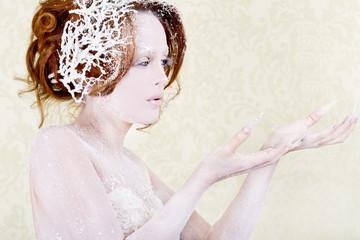 Ice princess woman holding something