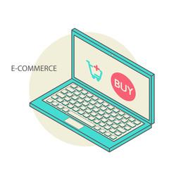 Vector concept of online shop in 3d line design