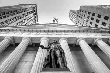 Facade of the Federal Hall with Washington Statue on the front,