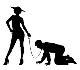silhouette di donna che tiene uomo al guinzaglio