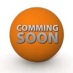 Coming soon circular icon on white background