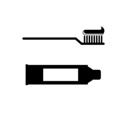 toothbrush and toothpaste vector.