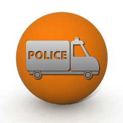 Police circular icon on white background