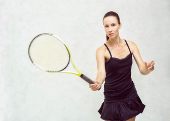 tennis player hits the ball, isolated on white textural backgrou