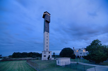 Charleston lighthouse at night  located on Sullivan's Island in
