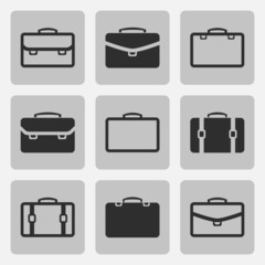 Vector briefcase black icons set