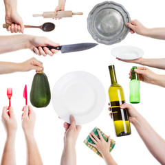 Hands holding various kitchen utensils