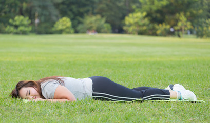 woman rest after completed workout.