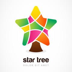 Vector logo design template. Colorful star tree icon design
