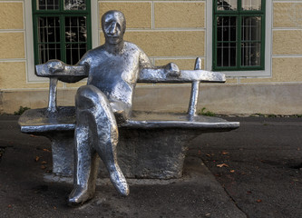Metal statue of Antun Gustav Matos