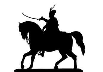 Ban Josip Jelacic on a horse silhouette on white background