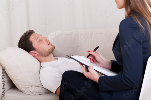 canvas print picture Man with problems during therapy