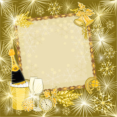 Happy New Year in gold backgrounds vector