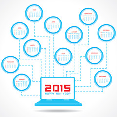 Calendar of 2015 with technology concept design