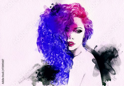 woman portrait .abstract watercolor .fashion background - 73845667