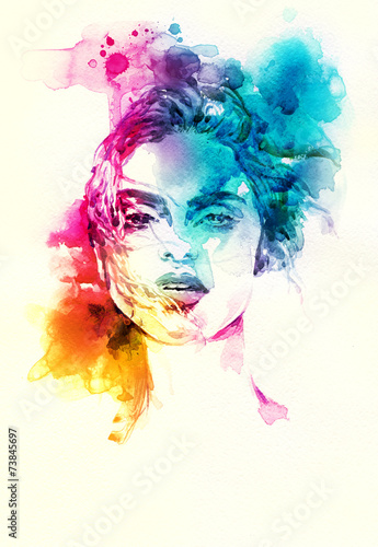 woman portrait .abstract watercolor .fashion background - 73845697