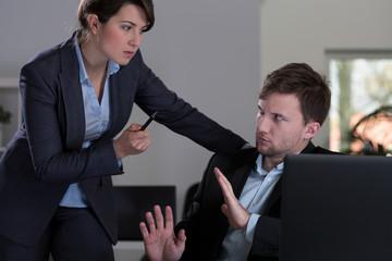Boss threatening to her employee
