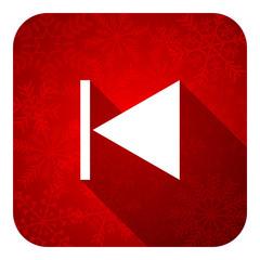 previous flat icon, christmas button