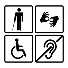 Vector disabled signs