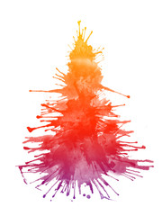 Watercolor Xmas Tree