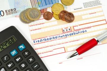 Überweisungsträger mit Kreditbearbeitungsgebühren