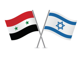 Israel and Syrian flags. Vector illustration.
