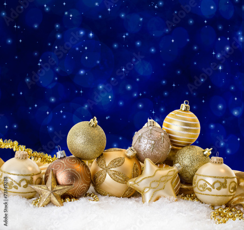 canvas print picture golden christmas night