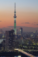 Sunset view of Tokyo city and Tokyo sky tree