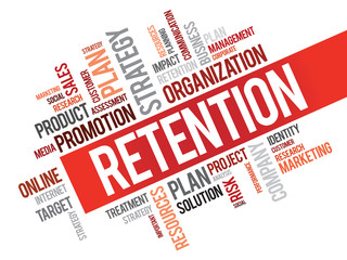 Word Cloud with Retention related tags, vector business concept