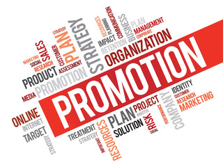 Word Cloud with Promotion related tags, vector business concept