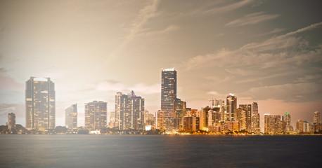Downtown Miami Florida sunset skyline panorama